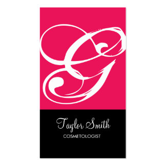 Simple Monogram Business Card (Magenta)