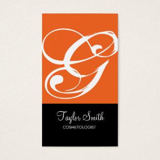Simple Monogram Business Card (Orange)