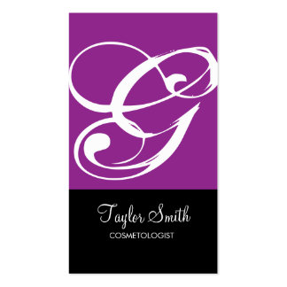 Simple Monogram Business Card (Purple)