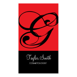 Simple Monogram Business Card (Red)