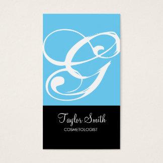 Simple Monogram Business Card (Sky)