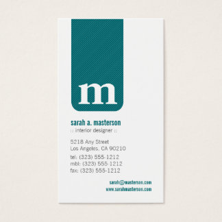 Simple Monogram Designer Business Card (teal)