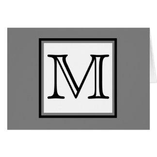 Simple Monogram Gray Black White Blank Inside Card