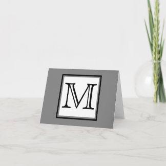 Simple Monogram Gray Black White Blank Inside Note Card