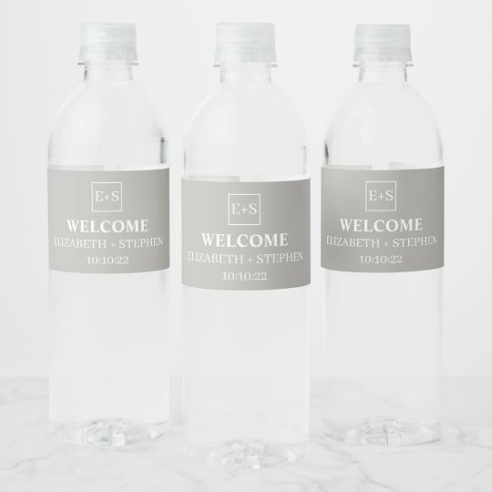 Wedding Water Bottle Labels.Simple Monogram Grey And White Wedding Water Bottle Label