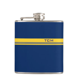 Simple Monogram in Dark Blue and Yellow Flask