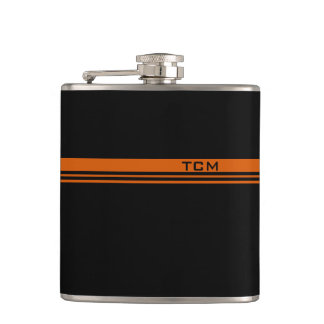 Simple Monogram in Orange and Black Flask