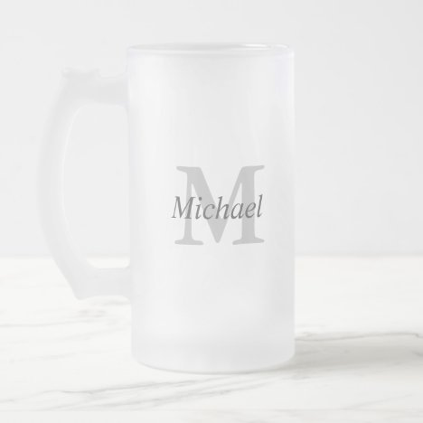 Simple Monogram Initial and Name Frosted Glass Beer Mug