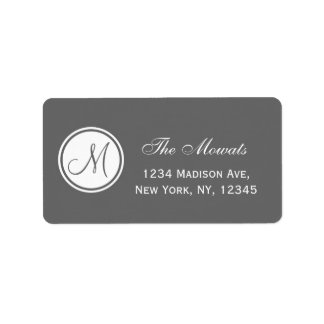 Simple Monogram Initial Grey Address Label