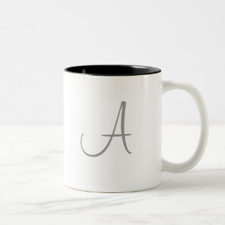 Simple Monogram Letter Initial Custom Personalized Two-Tone Coffee Mug