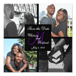 Simple Monogram Photo Save the Date Card 3