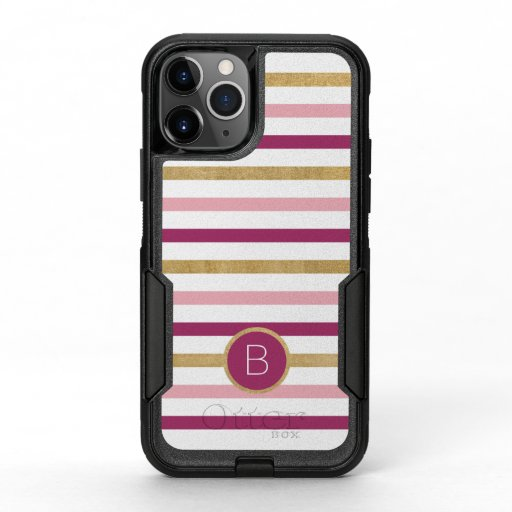 Simple Monogram Pink White Stripes OtterBox Commuter iPhone 11 Pro Case