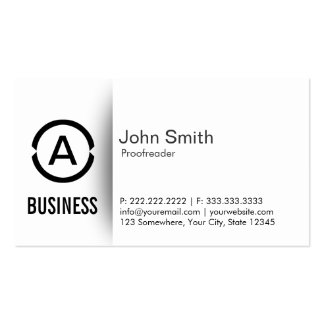 Simple Monogram Proofreading Business Card