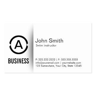Simple Monogram Swim Instructor Business Card
