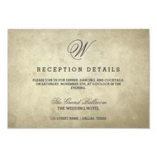 Simple Monogram | Vintage Paper Reception Details Card
