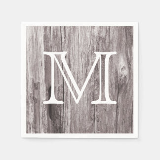 Simple Monogram Weathered Wood Background Rustic Standard Cocktail Napkin