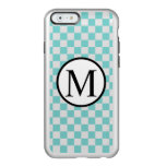 Simple Monogram with Aqua Checkerboard Incipio Feather Shine iPhone 6 Case