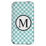 Simple Monogram with Aqua Checkerboard iPhone 6/6s Wallet Case