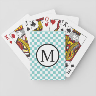 Simple Monogram with Aqua Checkerboard Playing Cards
