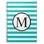 Simple Monogram with Aqua Horizontal Stripes Notebook
