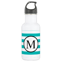 Simple Monogram with Aqua Horizontal Stripes Stainless Steel Water Bottle