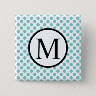 Simple Monogram with Aqua Polka Dots Button