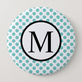 Simple Monogram with Aqua Polka Dots Pinback Button