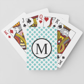 Simple Monogram with Aqua Polka Dots Playing Cards