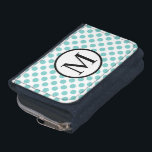 """Simple Monogram with Aqua Polka Dots Wallet<br><div class=""""desc"""">This design and layout is available on more products!   Also,  the text,  the text color and font,  and the background color can be changed. The white and black of the center circle cannot.  Be sure to check out all the options to customize your product!  Thanks for looking!</div>"""