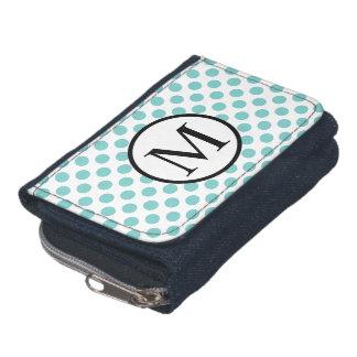Simple Monogram with Aqua Polka Dots Wallet