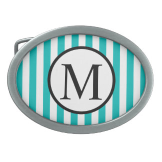 Simple Monogram with Aqua Vertical Stripes Belt Buckle