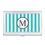 Simple Monogram with Aqua Vertical Stripes Business Card Case