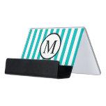 Simple Monogram with Aqua Vertical Stripes Desk Business Card Holder