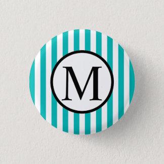 Simple Monogram with Aqua Vertical Stripes Pinback Button