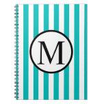 Simple Monogram with Aqua Vertical Stripes Spiral Notebook