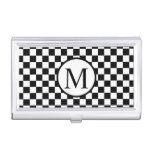Simple Monogram with Black Checkerboard Case For Business Cards