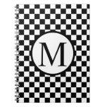 Simple Monogram with Black Checkerboard Spiral Notebook