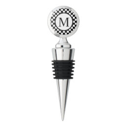 Simple Monogram with Black Checkerboard Wine Stopper
