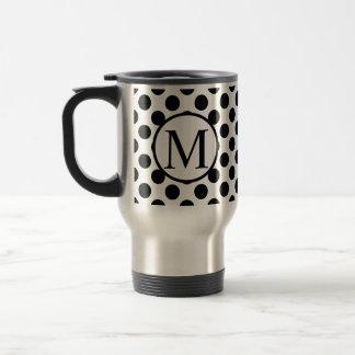 Simple Monogram with Black Polka Dots Travel Mug