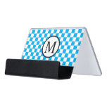 Simple Monogram with Blue Checkerboard Desk Business Card Holder