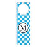 Simple Monogram with Blue Checkerboard Door Hanger