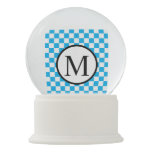 Simple Monogram with Blue Checkerboard Snow Globe