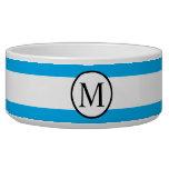 Simple Monogram with Blue Horizontal Stripes Bowl