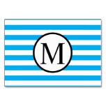 Simple Monogram with Blue Horizontal Stripes Card