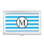 Simple Monogram with Blue Horizontal Stripes Case For Business Cards