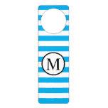 Simple Monogram with Blue Horizontal Stripes Door Hanger