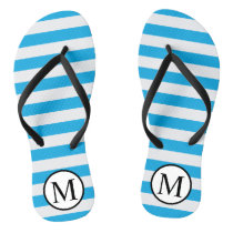 Simple Monogram with Blue Horizontal Stripes Flip Flops