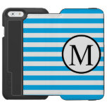Simple Monogram with Blue Horizontal Stripes iPhone 6/6s Wallet Case