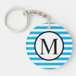 Simple Monogram with Blue Horizontal Stripes Keychain