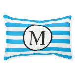 Simple Monogram with Blue Horizontal Stripes Pet Bed
